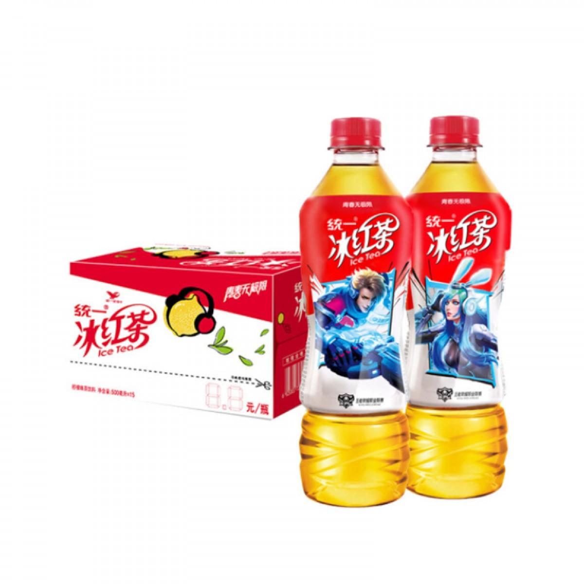 统一 冰红茶(柠檬味红茶饮料)500mlX15瓶 整箱装